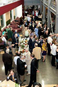 alumni socializing in the Law School atrium