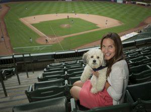 Marti Wronski with Hank at Miller Stadium
