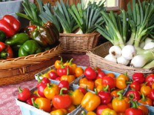 fresh fruits and veggies at a farmer's market