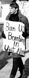 "protest sign that says ""ban US bombing in vietnam"""