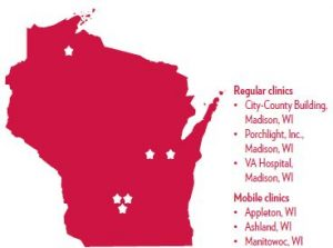 Wisconsin map with VA clinic locations
