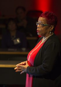 Danae Davis speaking at the 150th uw law talks