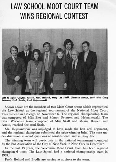 1971 Gargoyle article: Law School Moot Court Team Wins Regional Contes