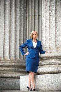 Bridget Brennan in front of columns