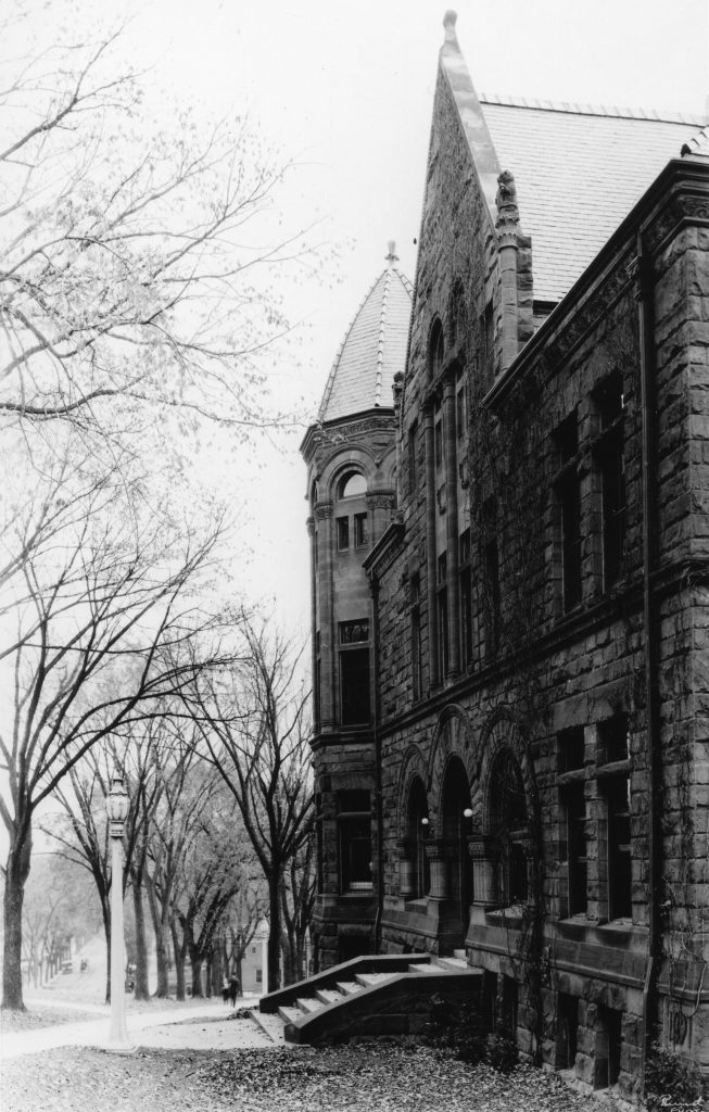 exterior of the original Law School building in black and white