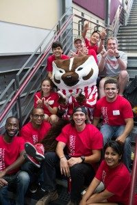 law students at orientation with bucky