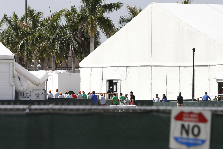 tents at a detention center in Florida