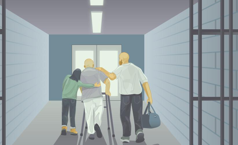 illustration of prisoner leaving