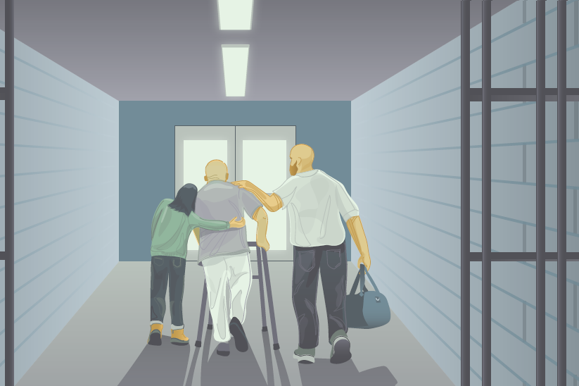 illustration of prisoner leaving