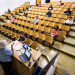 classroom with spaced students